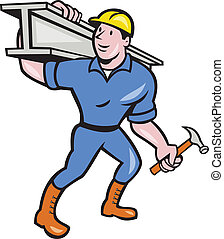 Illustration of construction steel worker carpenter carrying i-beam girder on sohulder on isolated white backgroubd done in cartoon style.