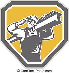 Construction Steel Worker Carrying I-Beam Retro -...
