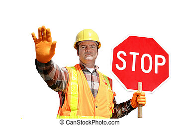 Construction Stop Isolated - A construction worker stopping ...