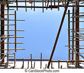 Construction structure of building with blue sky, background