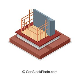 Construction structure of house isometric 3D icon
