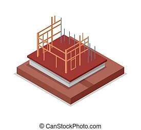 Construction structure of walls isometric 3D icon