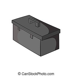 Construction suitcase icon, black monochrome style