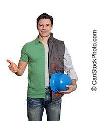 Construction supervisor and happy customer