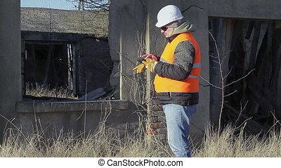 construction, tablette, ingénieur