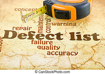 Defect List - Construction tape on the artistic background ...