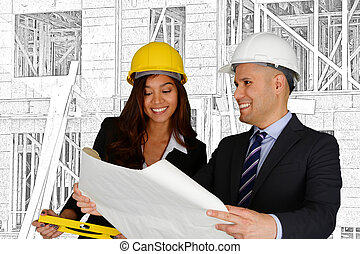 Construction Team - Group of people working at a ...