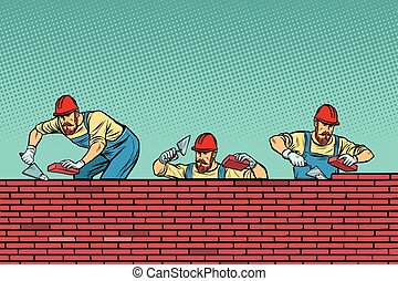 construction team laying a brick wall background
