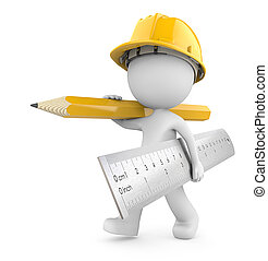 Dude 3D character the Builder carrying large Ruler and Pencil. Yellow theme. 3d Render.