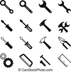 Construction tool collection Vector illustration Symbol