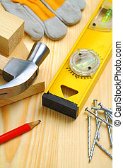 construction tools and materials on table