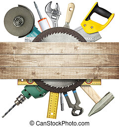 Carpentry, construction hardware tools collage.