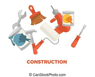 Construction tools colorful vector set isolated on white