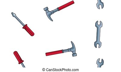 Construction tools falling background HD animation