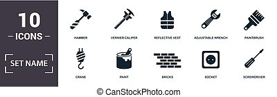 Construction Tools icon set. Contain filled flat paintbrush, reflective vest, paint, adjustable wrench, trowel tool, window icons. Editable format