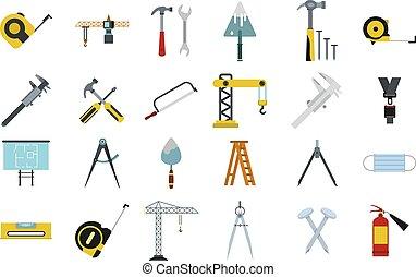 Construction tools icon set, flat style