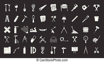 Construction tools icon set grey vector