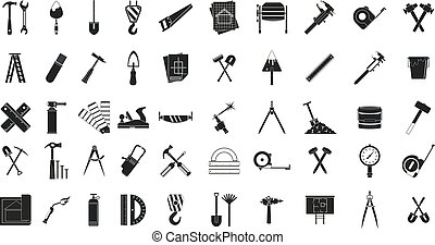 Construction tools icon set, simple style