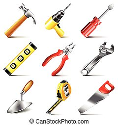 Construction tools icons vector set