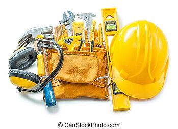 construction tools isolated on white helmet toolbelt ...