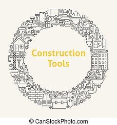 Construction Tools Line Art Icons Set Circle