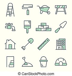 Construction tools line icons vector set