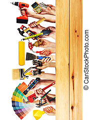 construction, tools., mains