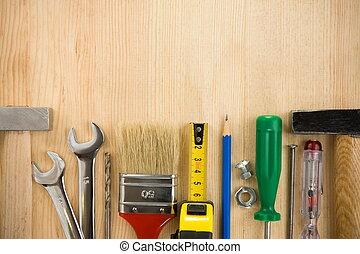 tools on wood background board