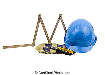 Construction tools: one blue helmet, protective glove, ...