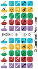 Construction tools set in different style: outline, black and white silhouette, colorfull and isometric.