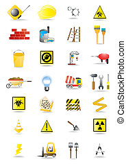 construction tools - Vector icons of building and...