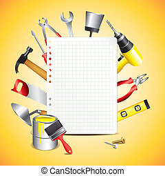 Construction tools with blank paper - Construction tools...