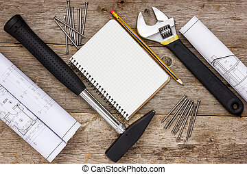 Construction tools with technical drawing