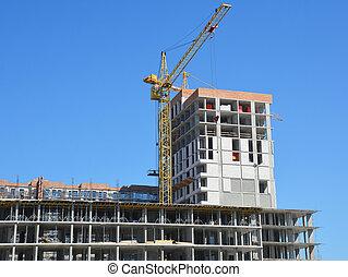 construction, tour, contre, sky., centre, bureau, centre commercial, grue, bâtiment, nouveau, bleu, achats