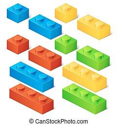 Construction toy cubes. Connector bricks. 3D isometric set