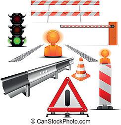 construction, trafic, icônes