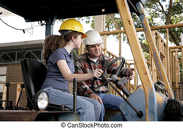 Construction Training - A construction foreman instructing a...