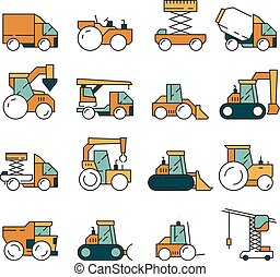 Construction transport. Heavy machinery truck asphalt highway on machines for builders lifting crane bulldozer tractors vector vehicle