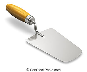 Construction trowel - Metal construction trowel with wooden...