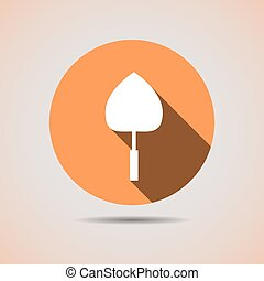 Construction trowel icon for the solution in orange background