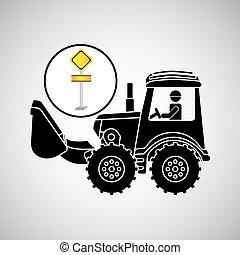 construction truck concept road sign design
