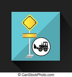 construction truck concept road sign design