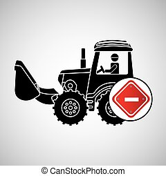 construction truck concept road sign stop design