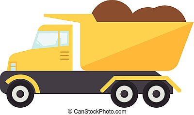 Construction truck icon, flat style