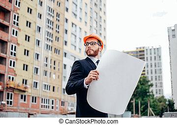 construction:, ungt par, betragte, hjem, planer, hos, builder.