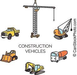 construction, vecteur, dessin animé, illustration, véhicules