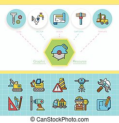 construction, vecteur, ensemble, icône