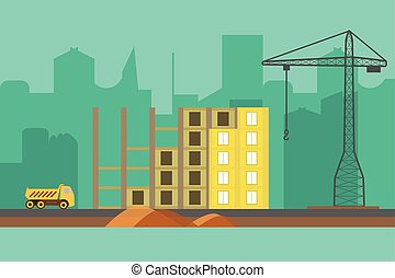 Construction vector background. Building process web banner in flat style