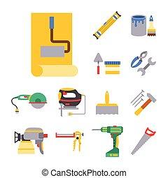 Construction vector worker equipment house renovation handyman tools carpentry industry illustration.