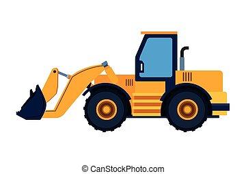 Construction vehicle backhoe colorful - Construction vehicle...